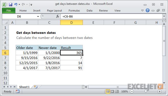 Iegūstiet dienas starp datumiem