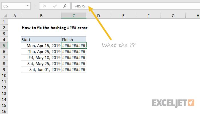 Cómo corregir el error #### (hashtag)