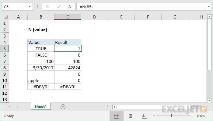 Função Excel N